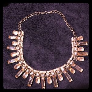 Jewelry - Unique gold-tone crystal necklace
